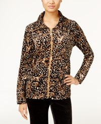 Karen Scott Petite Printed Velour Jacket Only At Macy's Camel Luxe