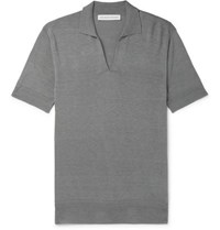 Orlebar Brown Mallory Slim Fit Silk And Cotton Blend Polo Shirt Gray