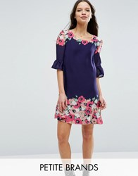 Yumi Petite Swing Dress With Frill Sleeves In Border Print Navy
