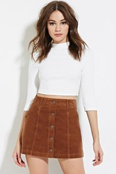 Forever 21 Corduroy Buttoned Skirt Brown