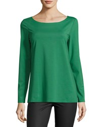 Lafayette 148 New York Long Sleeve Bateau Jersey Tee Green