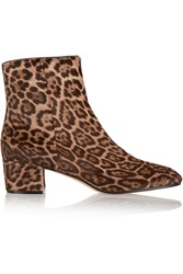 Gianvito Rossi Leopard Print Calf Hair Ankle Boots