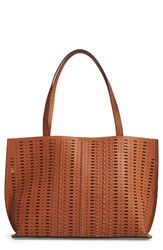 Phase 3 Woven Faux Leather Tote Brown Tan Sugar