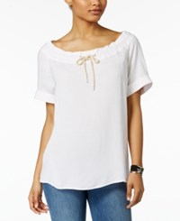 G.H. Bass And Co. Drawstring Neck Top White