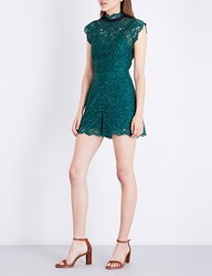 Sandro Frilled Collar Lace Playsuit Moss Green