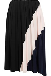 Cedric Charlier Color Block Pleated Crepe Midi Skirt Black