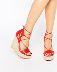 Daisy Street Tie Up Wedge Espadrilles Red