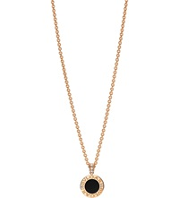 Bulgari Bvlgari Bvlgari 18Ct Pink Gold Pendant Necklace With Mother Of Pearl Onyx And Pave Diamonds