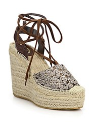 Ash Tessa Bis Lace Up Espadrille Wedge Sandals Gold