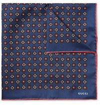Gucci Printed Silk Twill Pocket Square Blue