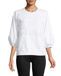 7 For All Mankind Embroidered 3 4 Puff Sleeve Sweatshirt White