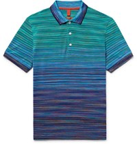 Missoni Slim Fit Space Dyed Knitted Cotton Polo Shirt Blue