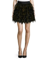 Alice Olivia Cina A Line Feather Skirt Black Army Green Multi Colors