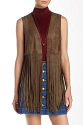 Fate Open Front Fringe Vest Green