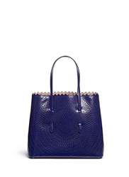 Azzedine Alaia 'Hypnotique' Lasercut Leather Tote Blue