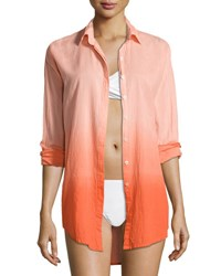 Letarte Midnight Waves Ombre Button Down Coverup Hot Coral