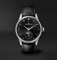 Jaeger Lecoultre Master Ultra Thin Moon Automatic 39Mm Stainless Steel And Leather Watch Black