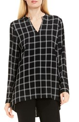 Vince Camuto Women's Windowpane V Neck Tunic Rich Black