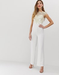 Chi Chi London Premium Lace Jumpsuit In White