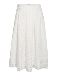 Marella Cheer Open Woven Floral Skirt White