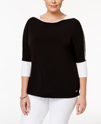 Calvin Klein Plus Size Colorblocked Dolman Sleeve Top Black