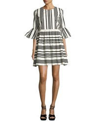 Alice Olivia Augusta Striped Ruffle Sleeve Dress Black White Multi