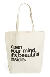Dogeared 'Big' Canvas Tote Beige Open Your Mind