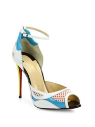 Christian Louboutin Colorblock Leather And Mesh Ankle Strap Peep Toe Pumps Multi