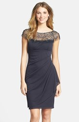 Xscape Evenings Women's Xscape Embellished Yoke Ruched Mesh Sheath Dress