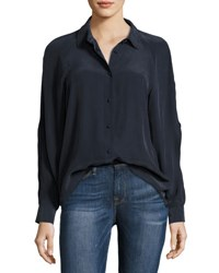 Frame Slit Sleeve Silk Blouse Navy