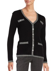Karl Lagerfeld Ribbed Button Front Cardigan Black Grey