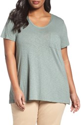 Caslonr Plus Size Women's Caslon Rounded V Neck Tee Green Dune
