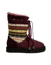 Love From Australia Patterned Short Leather Boots Mulberry