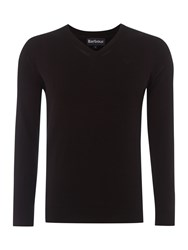 Barbour V Neck Pima Cotton Jumper Black
