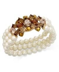 Charter Club Gold Tone Imitation Pearl Imitation Topaz Bracelet Only At Macy's