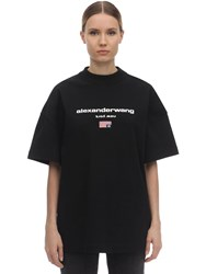 Alexander Wang Logo Embroidered Cotton T Shirt Black