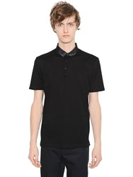 Lanvin Cotton Pique Polo With Grosgrain Collar