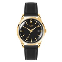 Henry London 39Mm Westminster Black Leather Watch Gold Black