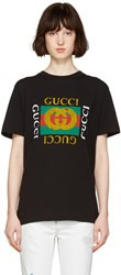 Gucci Black Logo And Tiger Patch T Shirt