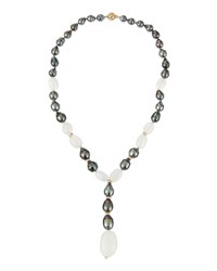 Belpearl Tahitian Black Pearl And Moonstone Y Drop Necklace Women's