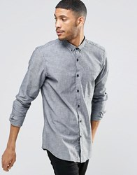 Pull And Bear Pullandbear Denim Shirt In Blue In Regular Fit Navy Blue