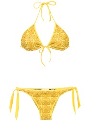 Amir Slama Textured Triangle Top Bikini Set Yellow And Orange
