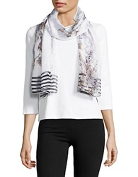 Cejon Floral Printed Sheer Scarf Neutral
