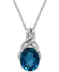 Macy's London Blue Topaz 4 3 4 Ct. T.W. And Diamond Accent Twist Pendant Necklace In Sterling Silver