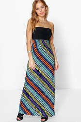 Boohoo Saffron Aztec Bandeau Maxi Dress Multi