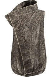 Rick Owens Dark Shadow Coated Textured Cotton Gilet Charcoal