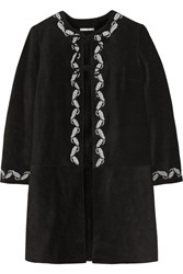 Ag Jeans Alexa Chung The Walker Embroidered Suede Coat Black