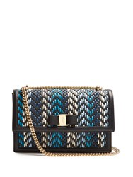 Salvatore Ferragamo Ginny Woven Leather Shoulder Bag Black Blue