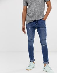 Only And Sons Super Skinny Washed Blue Jeans With Knee Break Navy