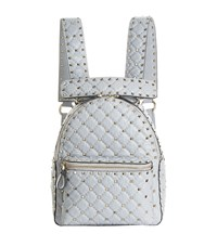 Valentino Garavani Crinkled Leather Rockstud Backpack Grey
